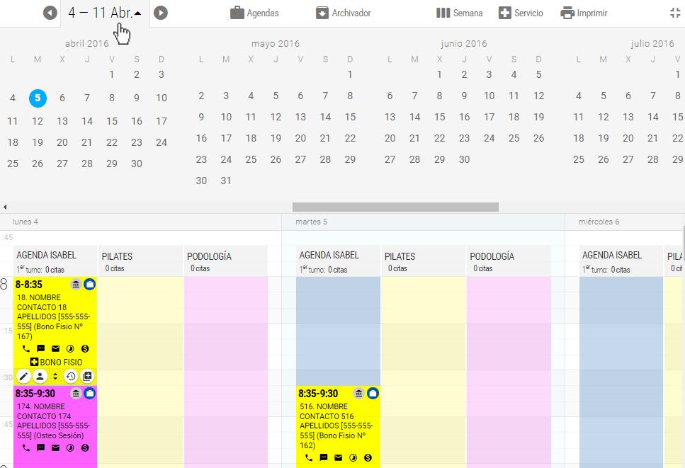 Pulsando sobre el título principal que indica el período mostrado actualmente se despliega el navegador de fechas con el que podrá desplazarse a momentos futuros o pasados.