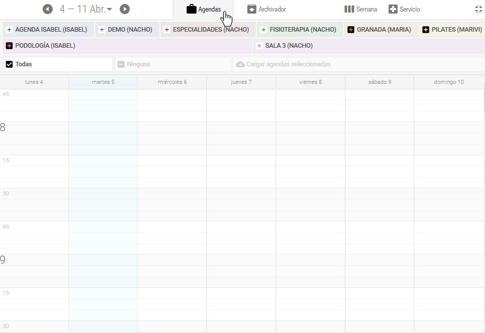 Pulse 'Agendas' para acceder a la lista de agendas disponibles. Este control no se muestra si sólo dispone de una agenda.